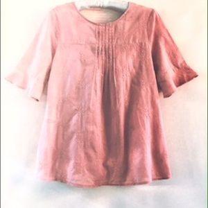 Ro&De Womens Boho Top Dusty Rose Bell Sleeves sz M